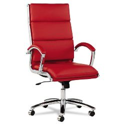 Alera Neratoli Mid-Back Red Leather Computer Chair