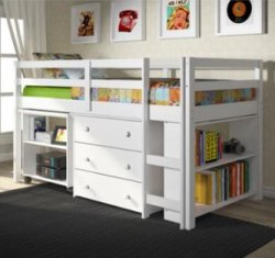 DONCO Kids White Loft Bed with Desk