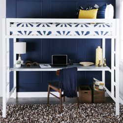 WE Furniture Twin Loft Bed with Desk