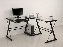 WE Furniture Glass and Metal Desk
