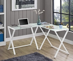 Elite Soreno White Glass Desk